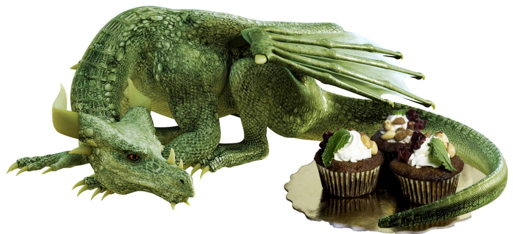 Dragon lying down next to plate of cakes