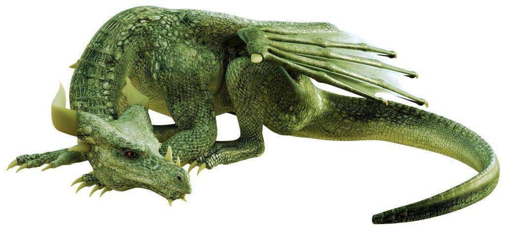 dragon icon - green dragon lying down