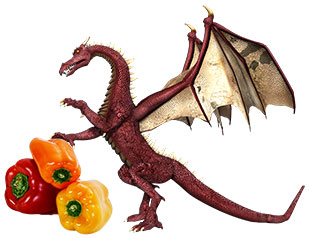 dragon's picnic icon - red dragon standing and leaning on three peppers