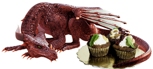 dragon icon - red dragon lying down and guarding a plate of cupcakes