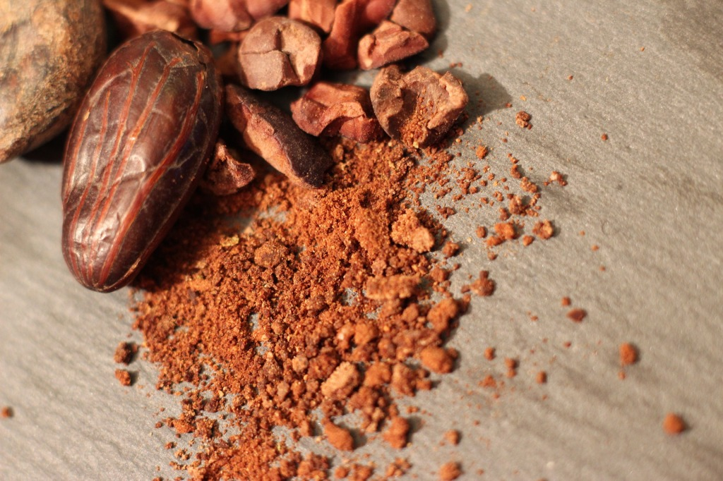 cacao beans and crushed cacao powder