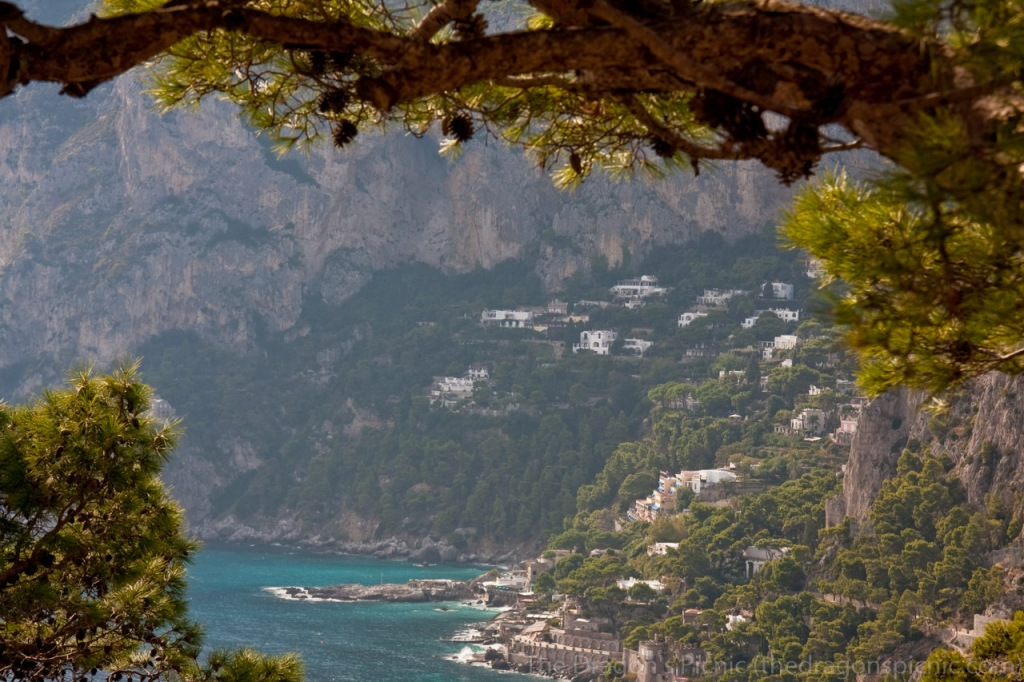 view looking over the coastline on the island of capri in italy