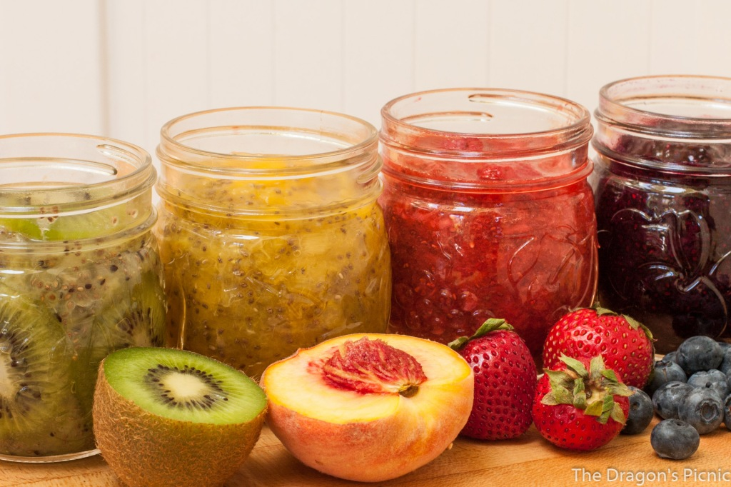 row of jars of kiwi, peach, strawberry, blueberry chia jam