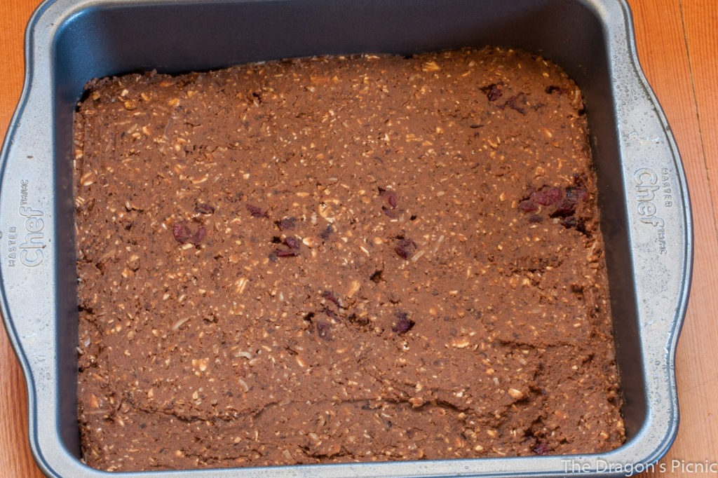 chocolate chargers energy bars in baking pan