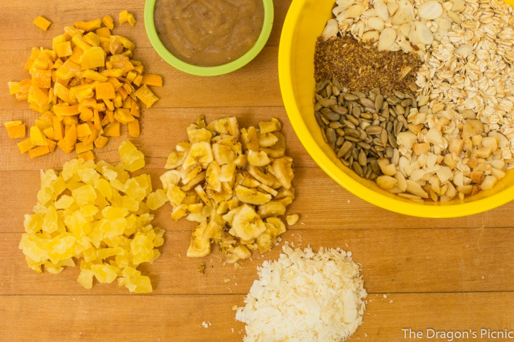 ingredients for topical vacation granola - dried mango, banana, pineapple, coconut