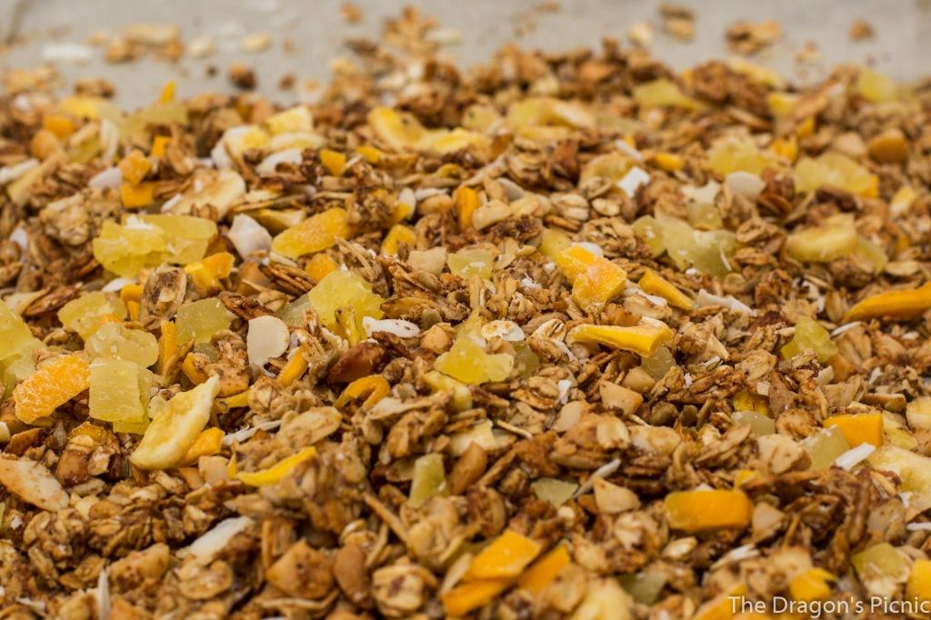 baking sheet of tropical vacation granola