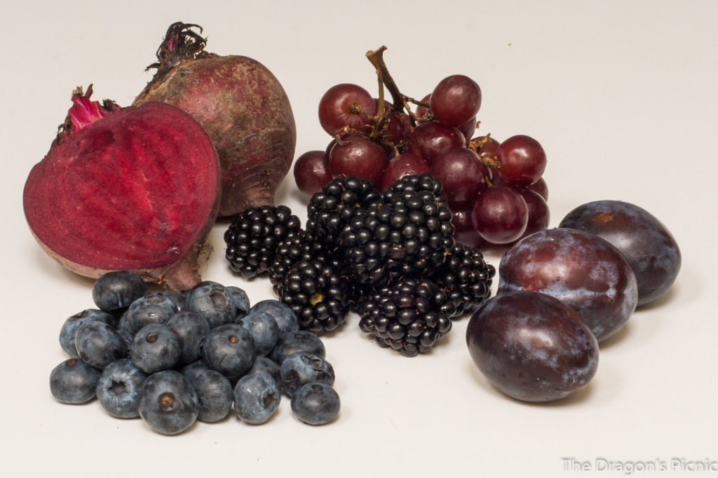 blue and purple foods - beets, red grapes, blue berries, blackberries, plums