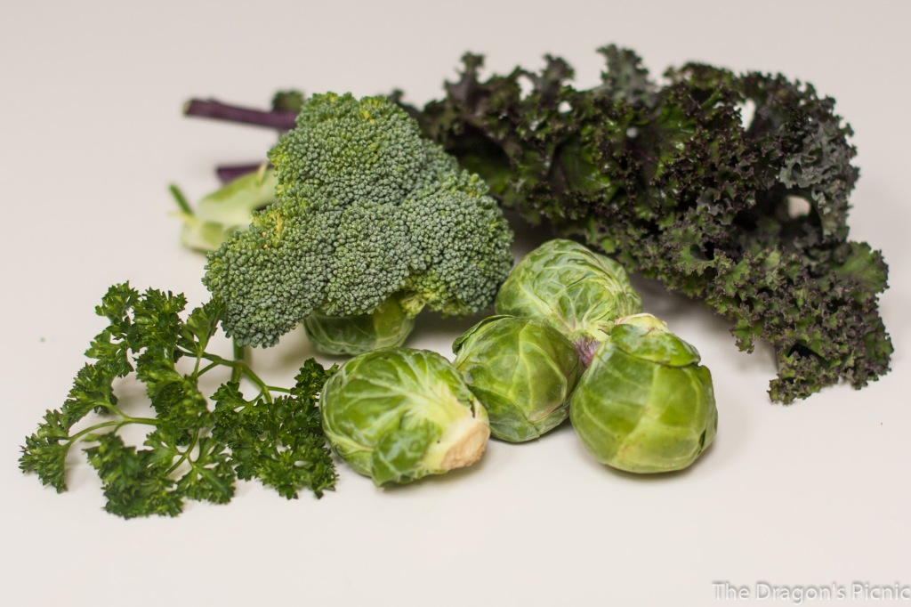 green foods - kale, broccoli, parsley, brussel sprouts
