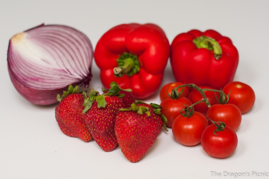 red foods - red onion, red pepper, strawberries, tomato