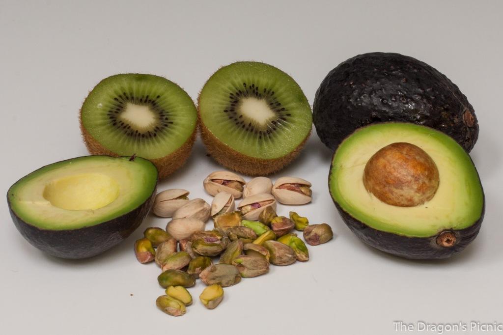 green and yellow foods = kiwi, avocado, pistachio nuts
