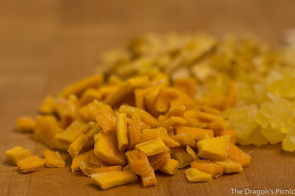 close up of dried mango