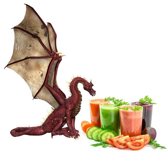 The Dragon's Picnic icon ... dragon looking at glasses of brightly coloured smoothies