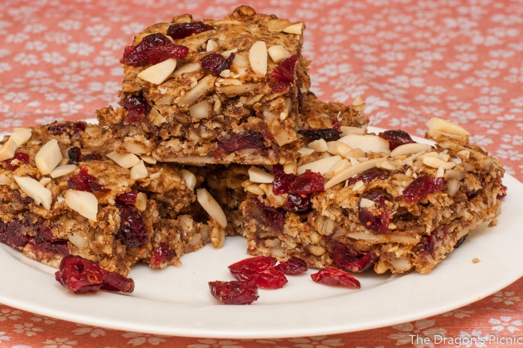 plate of cranberry and almond vegan breakfast bars