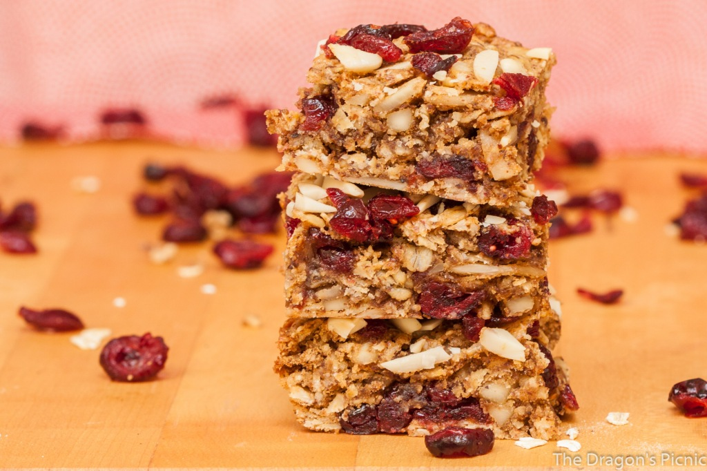 stack of cranberry and almond vegan breakfast bars