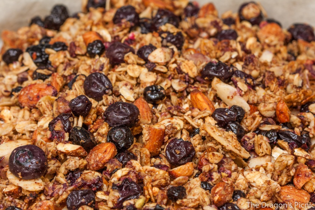 baking tray of double blueberry, lemon, almond granola