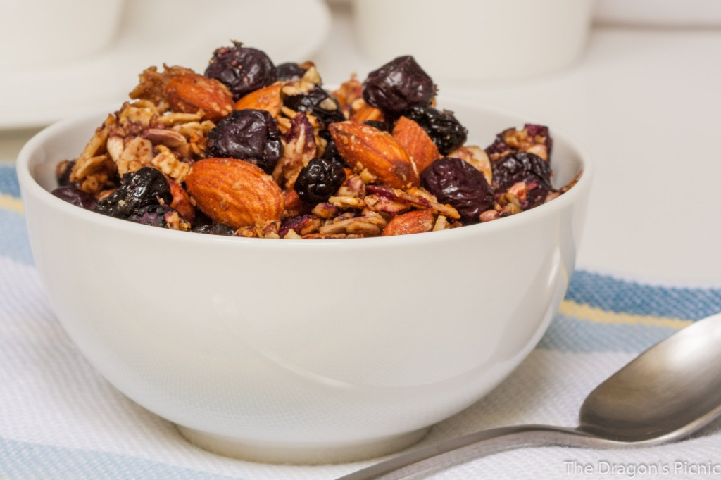 Bowl of double blueberry, lemon, almond granola