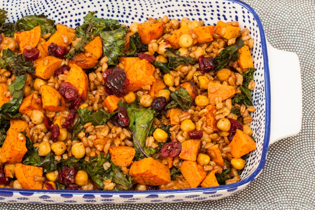 serving dish with farro, kale and roasted sweet potato salad