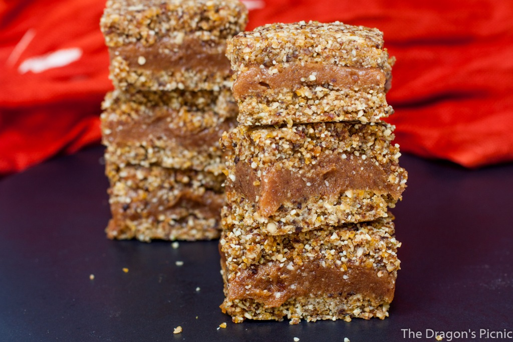 two stacks of apricot and peanut bars