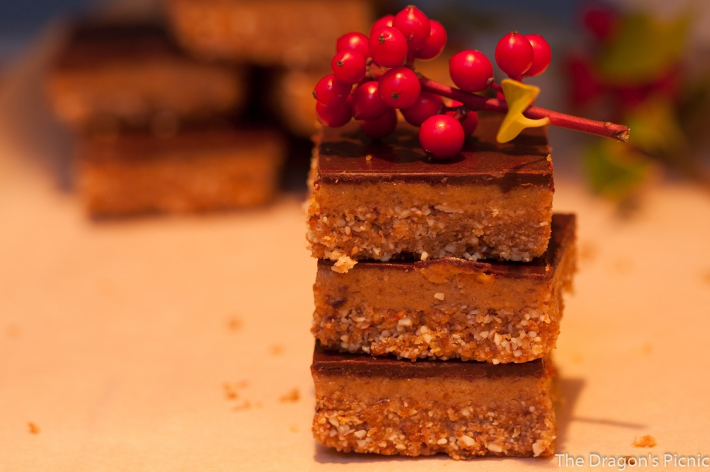 stack of 3 tahini bars decorated with piece of holly
